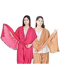 Priyali's Collection Solid Pink And Beige Cotton Dupatta Combo