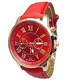 Gaddrt 2015 Frauen stilvolle Ziffern Kunstleder analoge Quarz-Armbanduhr Damenuhr (Red)