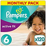 Pampers Active Fit 120 Nappies, Monthly Saving Pack, 15+ kg, Size 6