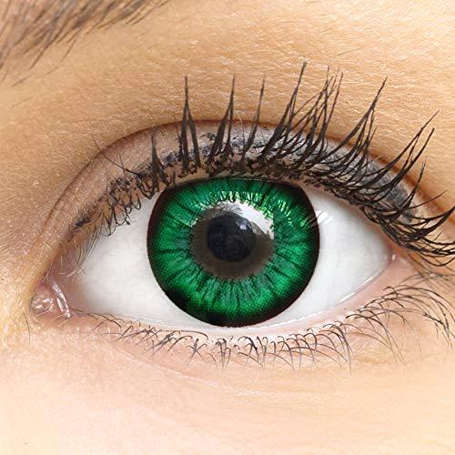 MeralenS Anime Manga Grüne Circle Lenses - Sweet Grün ohne Stärke mit Kontaktlinsen Flüssigkeit - 15mm Farbige Big Eyes Contact ()