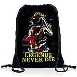 Legends Never Die - Luffy Pirat Rucksack Tasche Turnbeutel Sport Jute Beutel Piratenbande