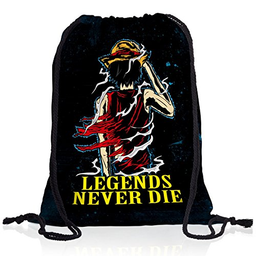 Legends Never Die - Luffy Pirat Rucksack Tasche Turnbeutel Sport Jute Beutel Piratenbande (Red Designs Monkey)