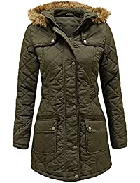 ENVY BOUTIQUE LADIES WOMENS FUR HOODED PADDED QUILTED MILITARY PARKA JACKET COAT SIZE 8-16