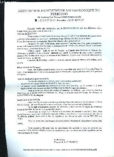 COMPTE RENDU DES RECHERCHES PAR LA RADIESTHESIE - CHATEAU DE BANNES - BEAUMONT DU PERIGORD - MONTFERRAND DU PERIGORD - SAINT AVIT SENTEUR