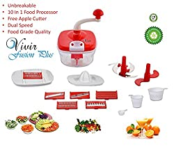 Vivir Fusion Plus Manual Food Processor ( Vegetable cutter, Dough Maker, Juicer, Meassuring Cups - All In One) - Assorted Colours