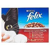 Felix Gatto Selezioni in Salsa con Anatra e Agnello, con Tacchino e Fegato, con Pollo e Rognone e con Coniglio e Pollame,10 x 100 g