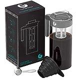 Coffee Gator Cold Brew Kaffeemaschine - BPA-freier Filter und Glaskaraffe - Brühsatz mit Edelstahl-Messlöffel und klappbarem Einfülltrichter - 1,4 Liter - Grau