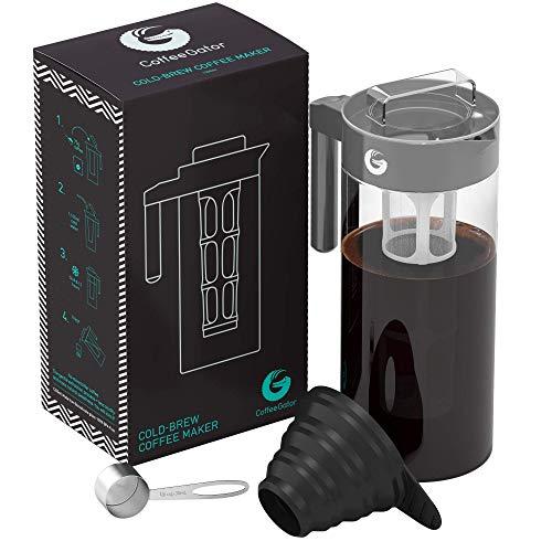 Coffee Gator Cafetera de Émbolo para Preparar Café en Frío Máquina Manual Cold-Brew para Conseguir un Café de Filtro Intenso y Aromático — Incluye Cuchara de Medición y Embudo