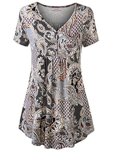 WAJAT Damen Henleyshirt LongTee V-Ausschinitt Tunika Vintage Basic Braun Blumen M