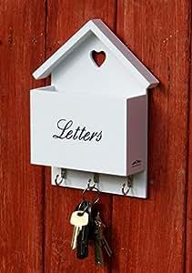 briefablage schl sselbrett letterbox postbox mit herz aus holz wei k che haushalt. Black Bedroom Furniture Sets. Home Design Ideas