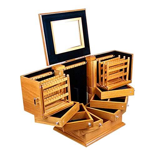 QWERTU Hölzerne Schmuckschatulle, große Kapazität mit Spiegel, Kleiderschrank Ring Halskette Geschenk Vintage Ohrringe Aufbewahrungsbox nach Hause