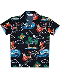 0c77509c84f374 Alvish Hawaiian Shirts Boys Christmas Santa Beach Party Short Sleeve  Holiday Casual