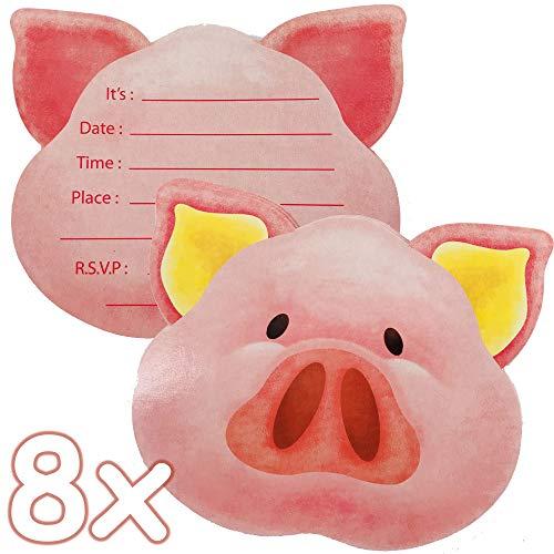 16-teiliges Einladungskarten-Set * Schweinchen * zum Kindergeburtstag oder Bauernhof-Mottoparty | mit 8 Einladungen und 8 Umschlägen | Schwein Pig Farm
