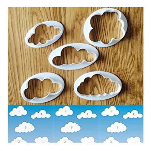 5 pezzi FAI DA TE fondente Cake Mold Decorating Tool Cloud forma ...