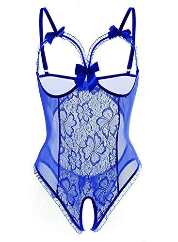 Dessous Bodysuit Open Cup Crotchless One Piece Sexy Dessous Teddy Spitze Nachthemd für Frauen für Sex (Blau, XL)