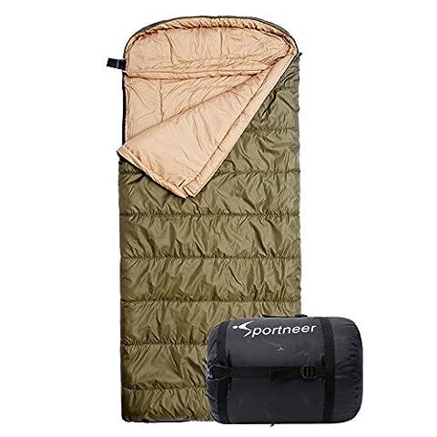 [Sac de Couchage] Sportneer 229 x 100cm, -18 ° C / 0 ° F Sac de Couchage/Sleeping Bag avec Sac de Transport, Armée Verte pour Voyage / Randonnée / Trekking / Camping