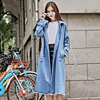 TJOIREJ Abrigos De Mujer Autumn Long Denim Ribbon Loose Denim Gabardina con Cinturones Abrigos De Abrigo, Azul L