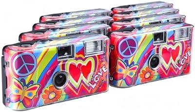 TopShot Love - Cámaras desechables (27 fotos, flash, 8 unidades), color rojo [Importado de Alemania]