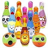 DREAMON Kegelspiel für Kinder Bowling Ball Set mit 10 Kegel und 2 Bälle in netzbeutel Drinnen Draußen Spielzeug Geschenke Spiele ab 3 Jahren Junge Mädchen