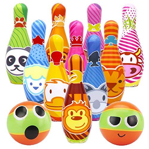 ür Kinder Bowling Ball Set mit 10 Kegel und 2 Bälle in netzbeutel Drinnen Draußen Spielzeug Geschenke Spiele ab 3 Jahren Junge Mädchen ()