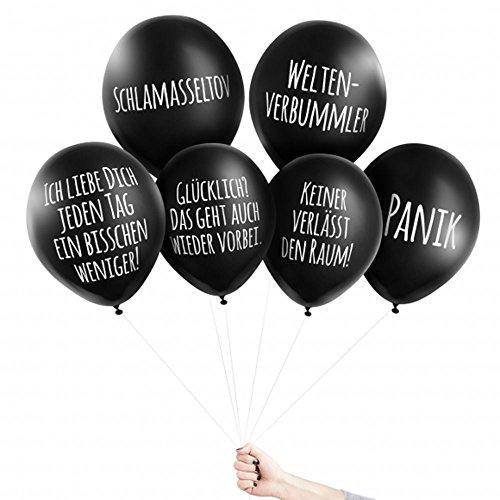 Pechkeks Anti-Party-Ballons, schwarze Luftballons mit schrägen Sprüchen, Grausige Mischung-Set, schwarz