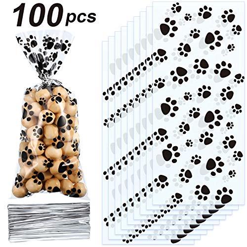 Blulu Haustier Pfote Drucken Kegel Zellophan Taschen Heißsiegelbare Treat Süßigkeiten Taschen Hunde Geschenk Taschen Katze Treat Taschen mit 100 Stück Silber Drehung Krawatten (100 Stück)