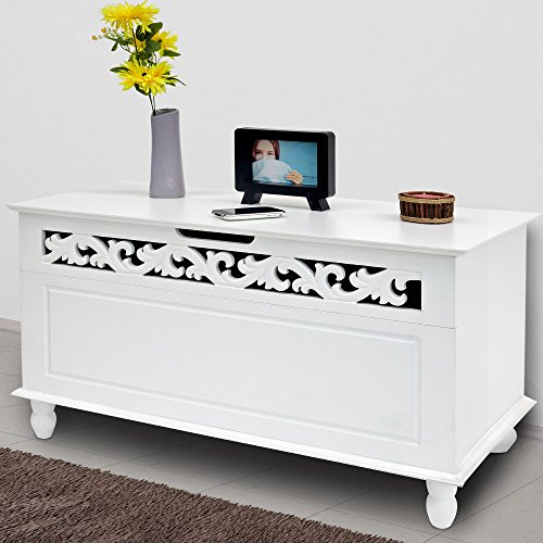 """White Wooden Chest """"Jersey"""" Trunk Cabinet Wood Storage Furniture Ottoman Bench Foldable Rustic Shabby Chic Cottage Country House French Style 100kg Capacity"""