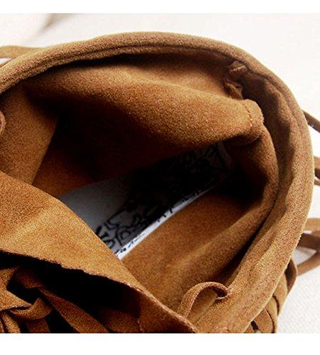 Gaorui Damen Kurzschaft Stiefel Stiefelletten Ankel Boots Schneestiefel mit TasselSchwarz Schwarz