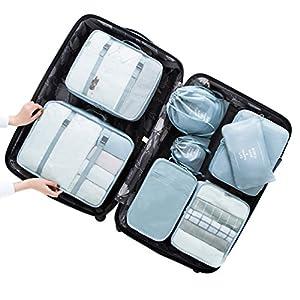 Dexinx Etanche Sac de Rangement Voyage Bagages Organiseur de Stockage de Vêtements Sacs de Compression Trousses de toilette- 8 Sacs d'un Ensemble