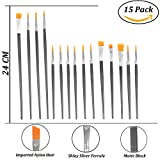 #9: TREELY 15 Piece Long Handle Artist Paint Brush, Black