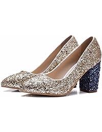 DIMAOL Zapatos de Mujer Brillante Glitter PU Primavera Otoño Comodidad Tacones Chunky Talón de Oro Plata Casual