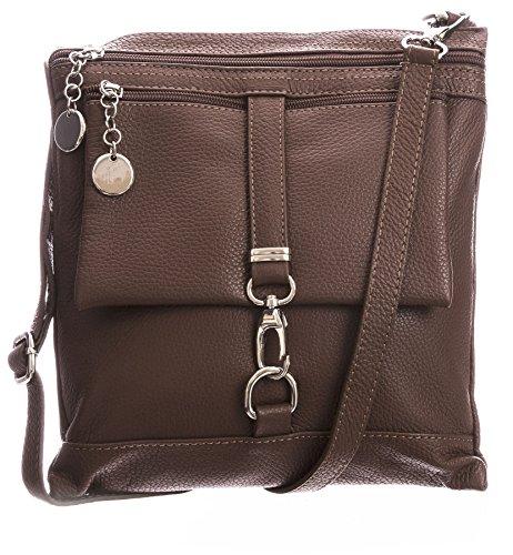 Big Handbag Shop Borsa a tracolla Messenger tipo cross-over in autentico Pelle Italiana 24x26x3 cm (LxAxP) Dark Tan (BH365)