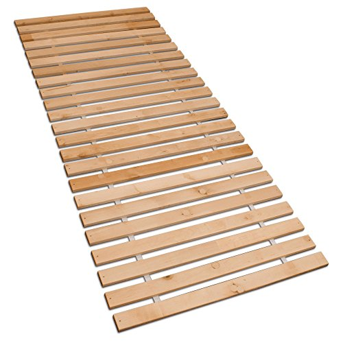 Betten-ABC Premium Rollrost (Stabiles Erlenholz, mit 23 Leisten und Befestigungsschrauben, Größe 90x200 cm) (Massivholz Bett-rahmen)