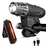 USB aufladbare wasserdichte LED-Fahrrad-Licht-Kit, kostenlose LED-Rücklicht inbegriffen - passt alle Fahrräder, einfache Installation