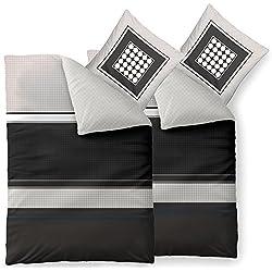 aqua-textil Bettwäsche 4tlg 155x220 Baumwolle Set Kopfkissen Bettbezug Reißverschluss atmungsaktive Bett Garnitur 80x80 Kissen Bezug karo punkte grau schwarz weiß 0011851 Trend Tanja