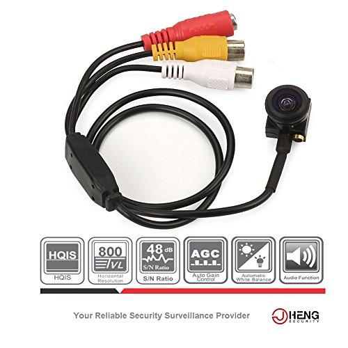 jcheng Mini verstecktem Weitwinkel Kamera 800TVL hqis Spy Video Kamera 140Winkel Grad mit Audio für Innen CCTV Überwachungskamera (Cctv-weitwinkel-kamera)