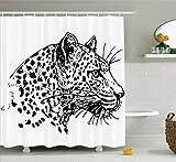 Abakuhaus Duschvorhang, Hand Gezeichnetes Jaguar Profil Tier Dschungel Schwarz-Weiß Afrikanische Safari Thema Grafik, Blickdicht aus Stoff inkl. 12 Ringe für Das Badezimmer Waschbar, 175 X 200 cm