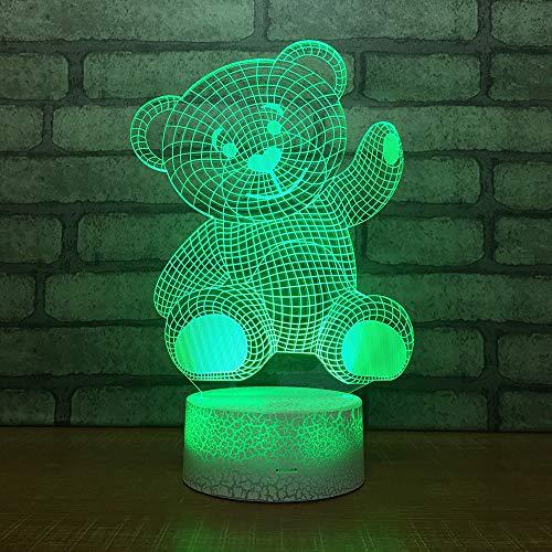 YDBDB Ideen Led 3D Kleines Nachtlicht Acryl Schlafzimmer Dekoration Kleinen Bären 3D Licht Nachttischlampe Dekorative Lampe Für Kinder Schlafzimmer