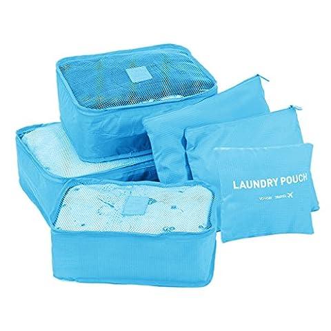 HJL 6 pièces Organisateur de bagage de Sac voyage packing cubes voyage Bagage Emballage Cubes sacoches de rangement pour bagage Sac De Bagages Rangement travel cubes