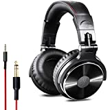 OneOdio Over Ear DJ Headphone-Wired Bass Headsets with 50mm Driver, Foldable Lightweight Headphones with Share-port and Mic for Recording Monitoring Podcast Guitar PC TV