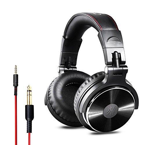 OneOdio DJ Kopfhörer, Studiokopfhörer, Over-Ear Headset, Adapter-frei Geschlossener Headphone 6,3mm & 3,5 mm Stereo / Studio Monitor & Mixing / Teleskoparme mit Skala / neuester 50mm Neodym Treiber, Standard Version