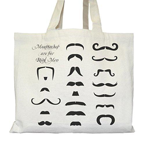 Tote bag Urbain - Soufflet et Poches intérieures - Toile épaisse de coton Bio - Moustaches for real men
