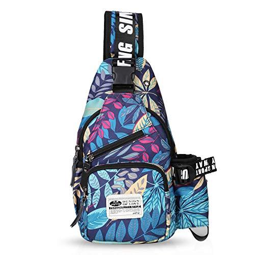 FANDARE Unisex Brusttasche,Messenger Bag Schultertasche für Damen und Herren, Crossbody Bag,zum Sport, Reisen und Joggen, Wasserdicht Polyester Blau - Blaue Damen Messenger Bag