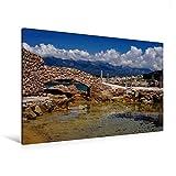 Premium Textil-Leinwand 120 cm x 80 cm quer, Port de La Tonnara im Südwesten Korsikas | Wandbild, Bild auf Keilrahmen, Fertigbild auf echter Leinwand, Leinwanddruck (CALVENDO Orte)