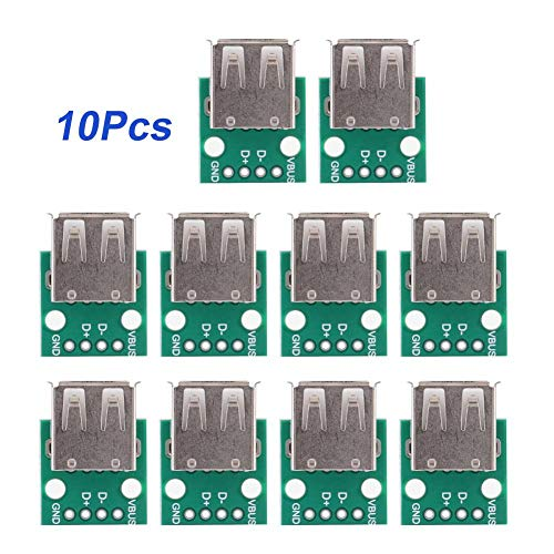 10 Stücke 4 Pins USB Breakout Board Typ A Weibliche Breakout Board Mini USB zu DIP Breakout Board 2,54mm Pitch Adapter für DIY/USB Netzteil Breakout-adapter