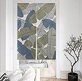 Nordic Modern Minimalist Partition Door Curtain, Cotton Linen Cloth Art Idyllic Leaves Halbvorhang-Küche Badezimmer Bad Zimmer Wohnbereich Wohnbereich Wohnbereich Dekorationsvorhang
