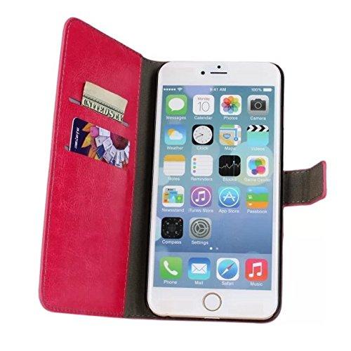 MOONCASE Coque en Cuir Portefeuille Housse de Protection Étui à rabat Case pour Apple iPhone 6 Plus Voilet Brun