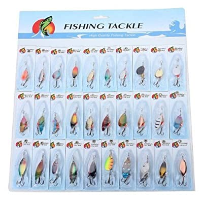 30 X Metal Mixed Spinners Fishing Lure Pike Salmon Baits Bass Trout Fish Hooks from Fishing