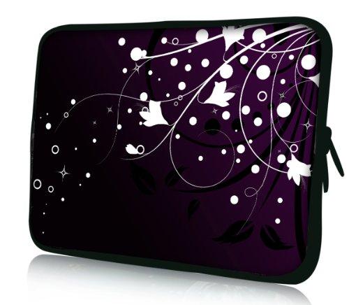 Luxburg® Design Laptoptasche Notebooktasche Sleeve für 13,3 Zoll, Motiv: Blumenranke auf Schwarz und Violett