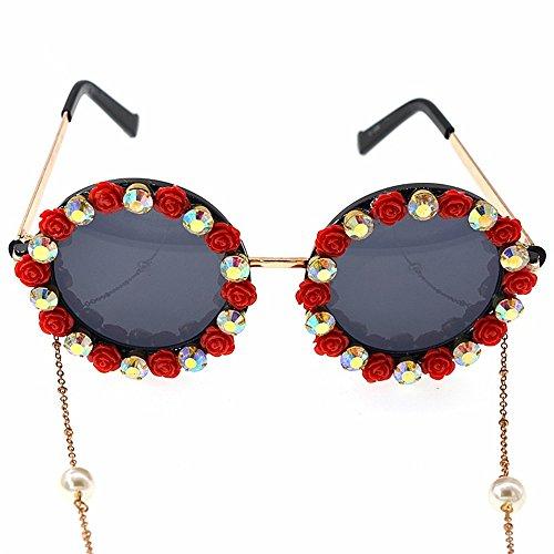Polarized Sunglasses UV Protection Frauen Sonnenbrillen Romantische Rote Rose Handgemachte Metall Gold Blume Barock für Frauen Kristall Eyewear Retro Stil Quaste Kette Sunglass Unisex for Driving Fish